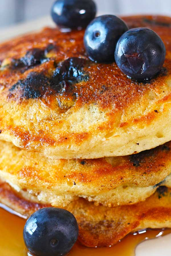 Stacked Blueberry Pancakes