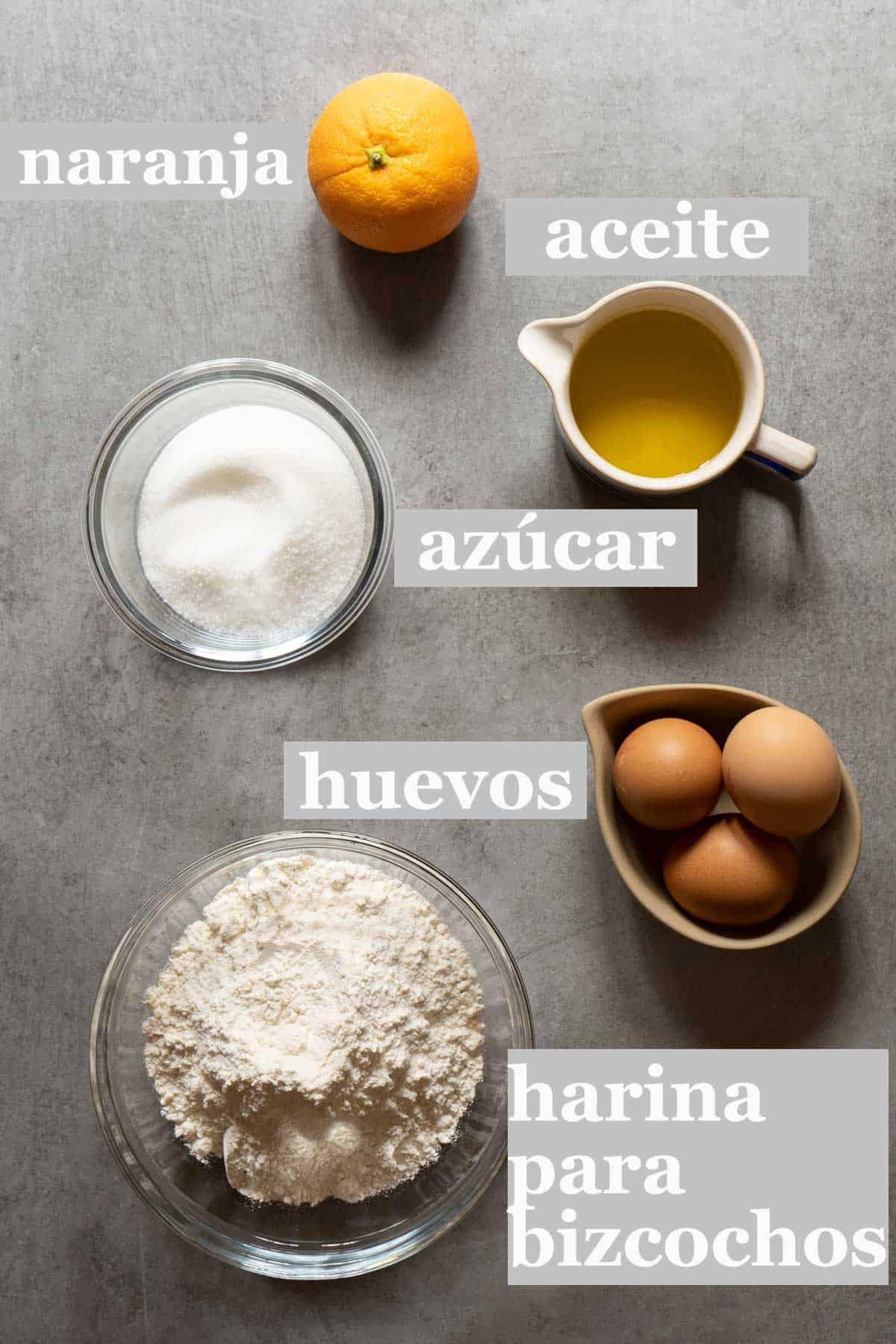 Ingredientes bizcocho de naranja super facil