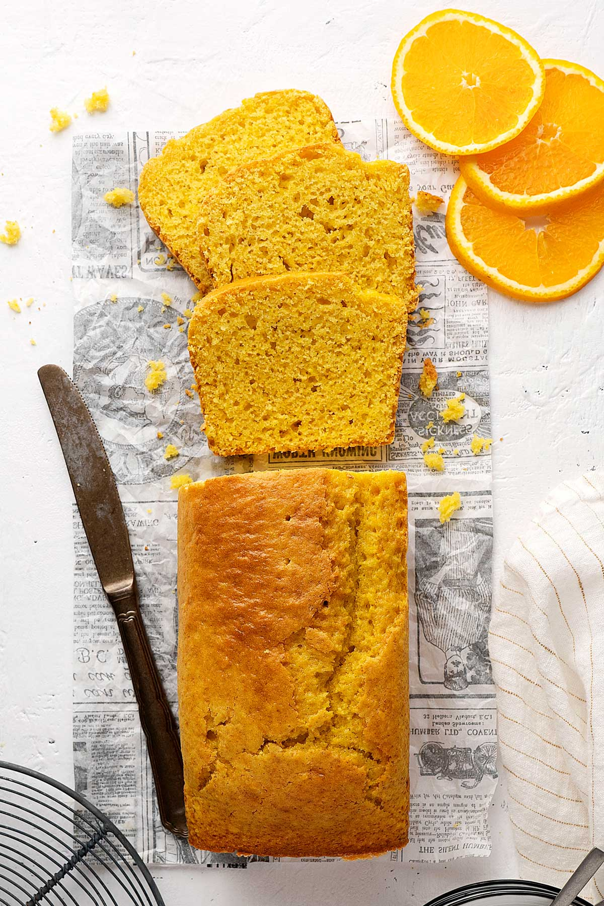 blender orange cake loaf cut in slices
