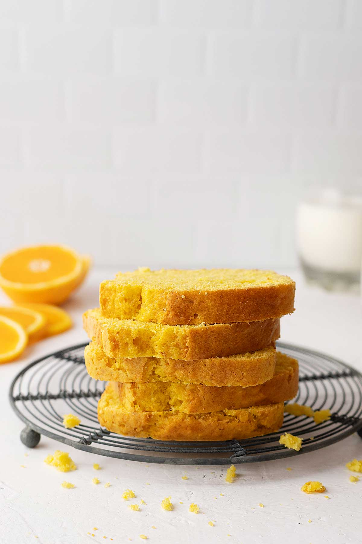 stacked slices of whole orange cake