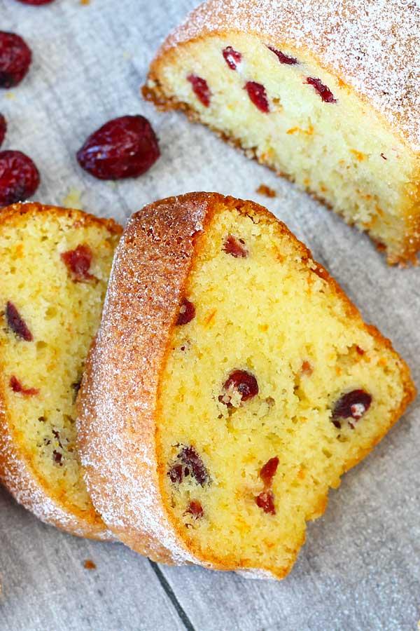 Cranberry clementine pound cake