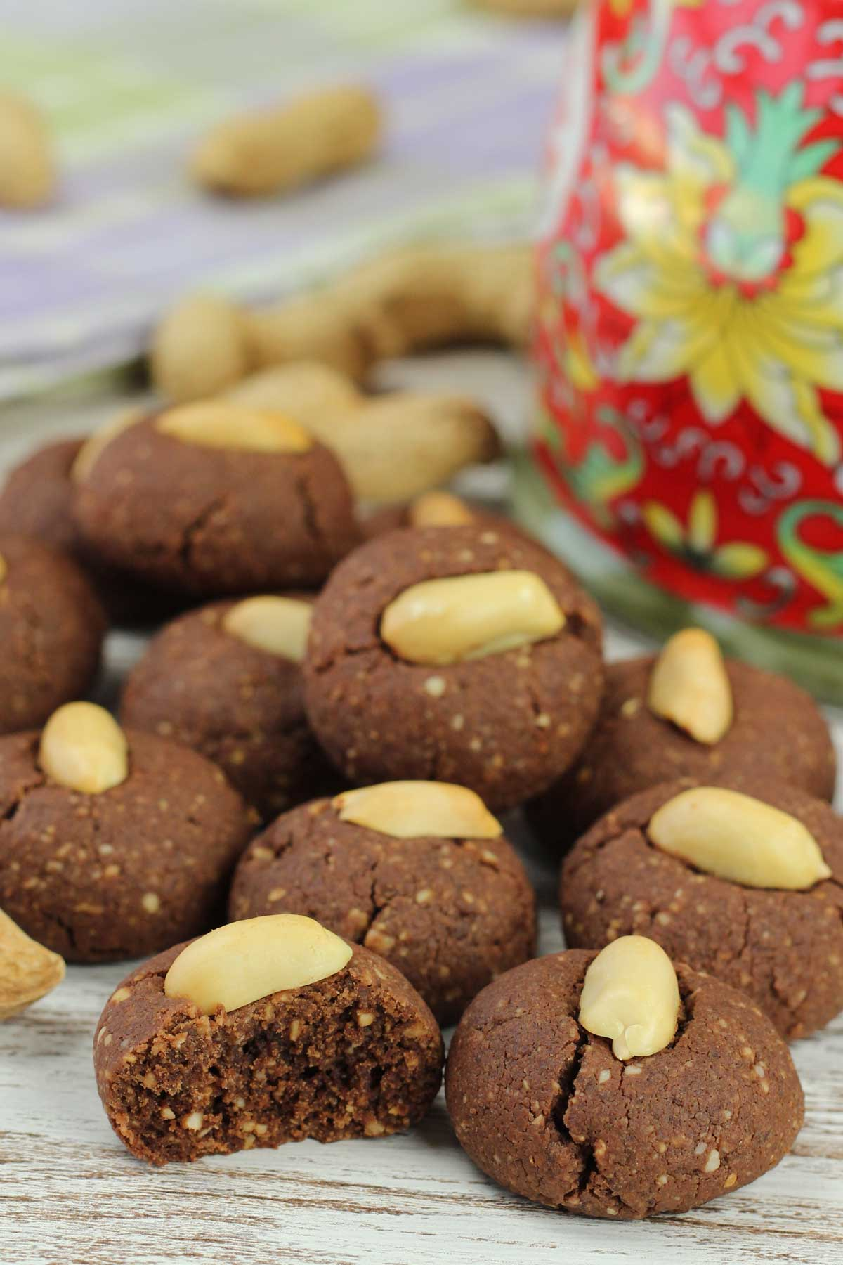 Chocolate Peanut Cookies on a table