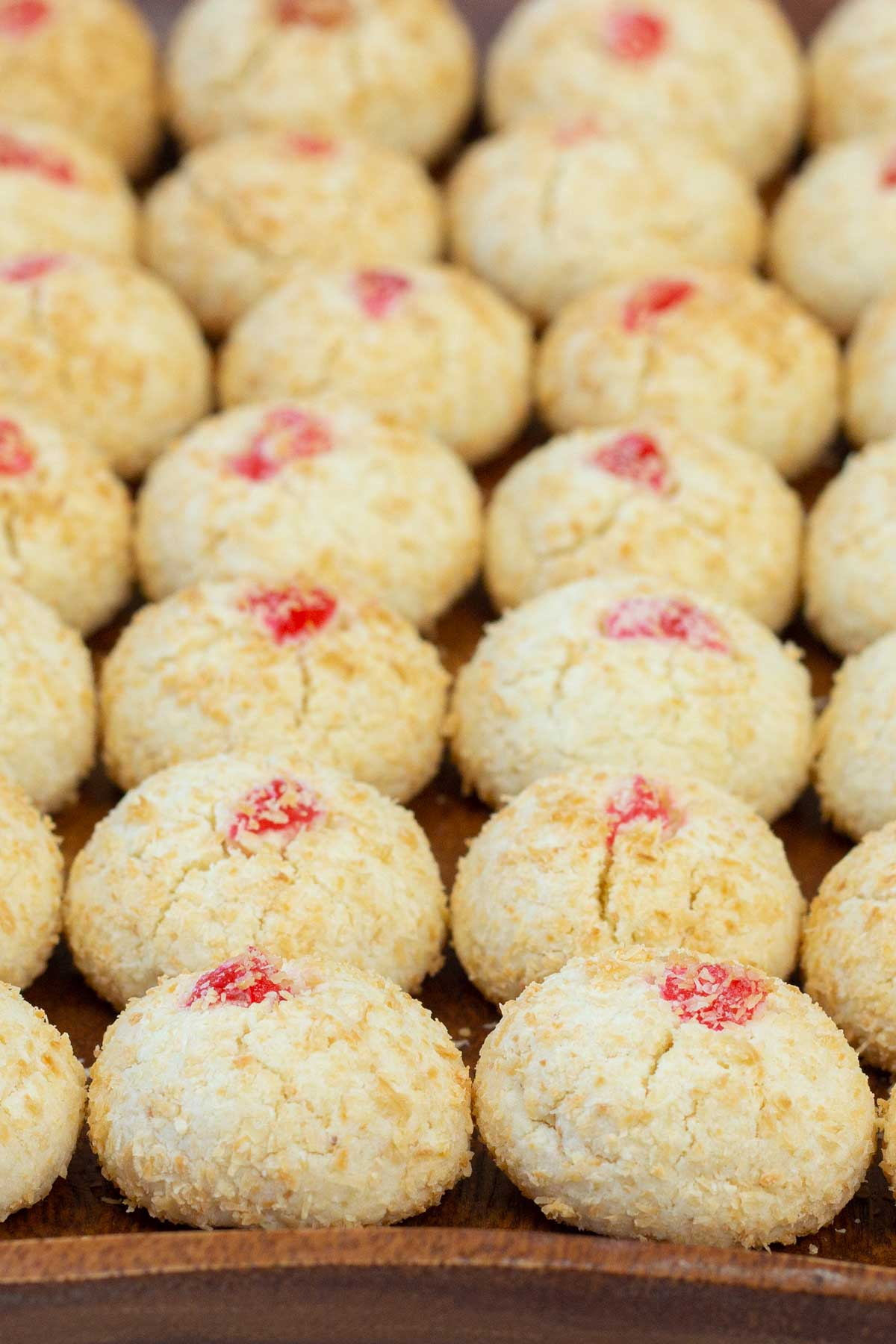 Coconut cookies on a tray