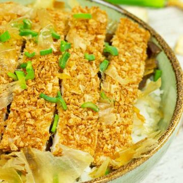 Baked Chicken katsudon in a bowl