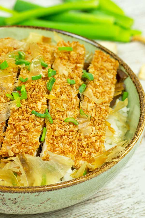 Baked Chicken katsudon on top of white rice
