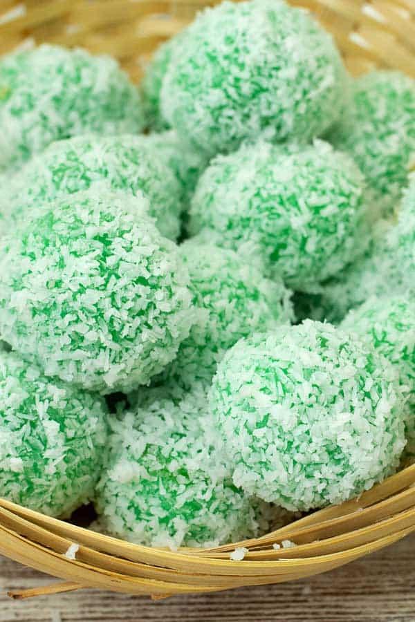pandan balls with coconut sugar ondeh ondeh