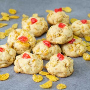 Cornflake cookies on a table