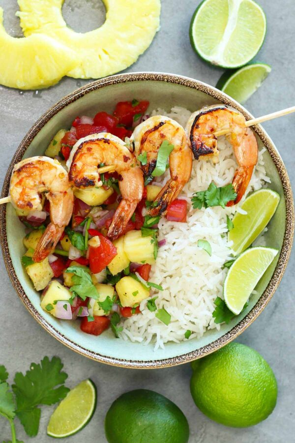 grilled shrimps with pineapple salsa