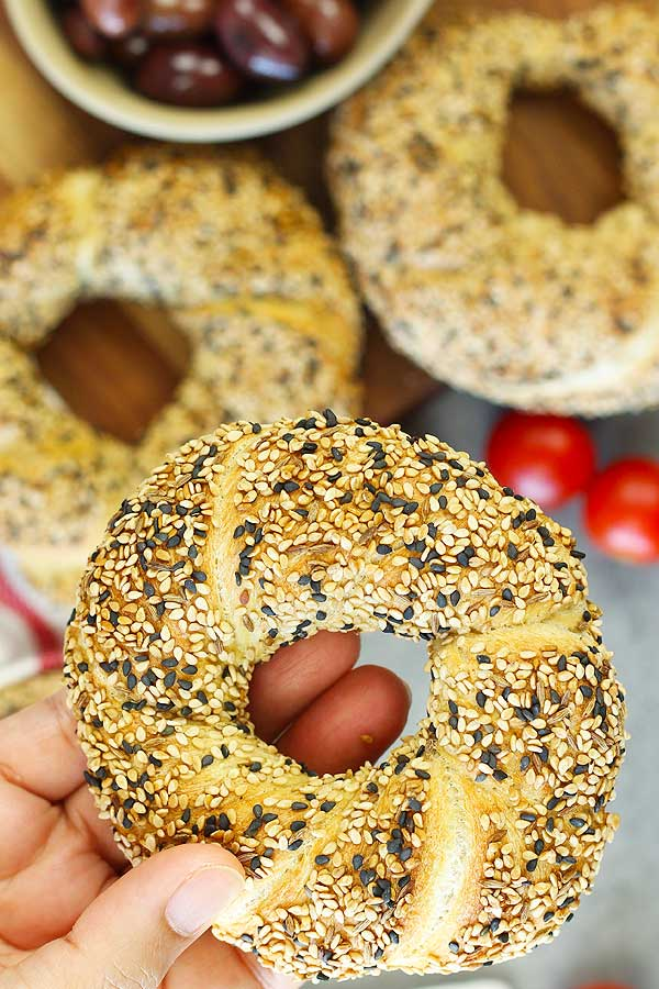 Holding Turkish Sesame Bread Simit
