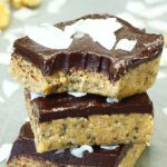Healthy No Bake Chocolate Peanut Butter Bars Stacked