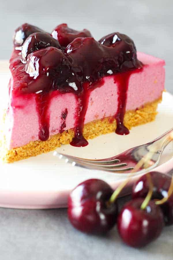 no bake cherry cheesecake portion