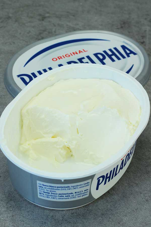 an open tub of Philadelphia cream cheese