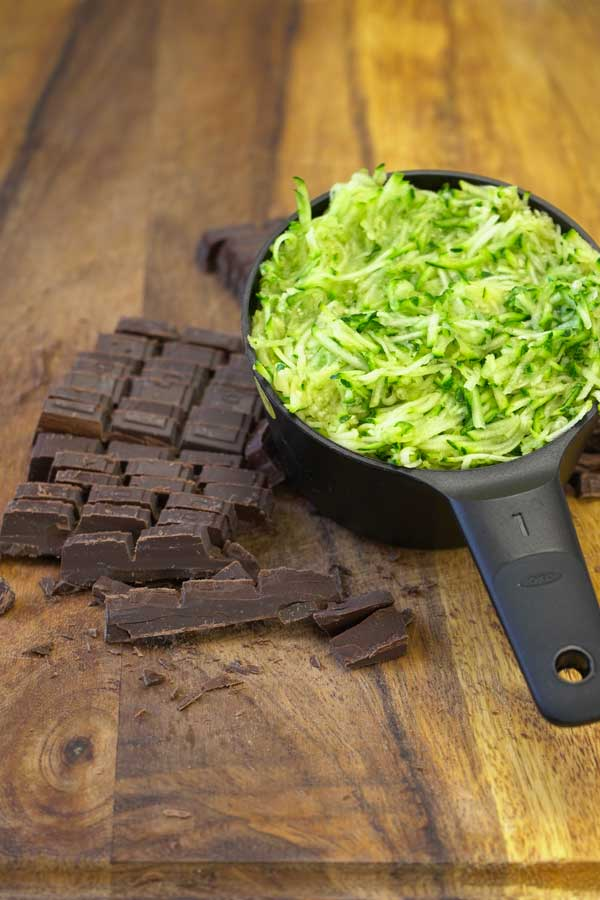 grated zucchini and chocolate