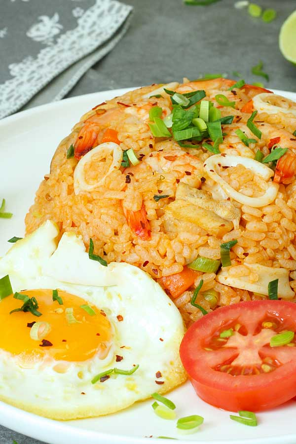 Nasi goreng USA served in a plate