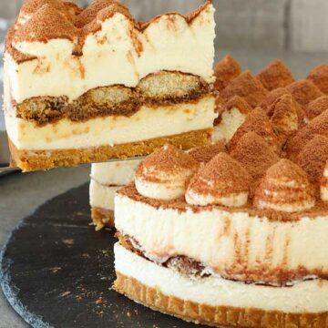 No bake tiramisu cheesecake portion being cut