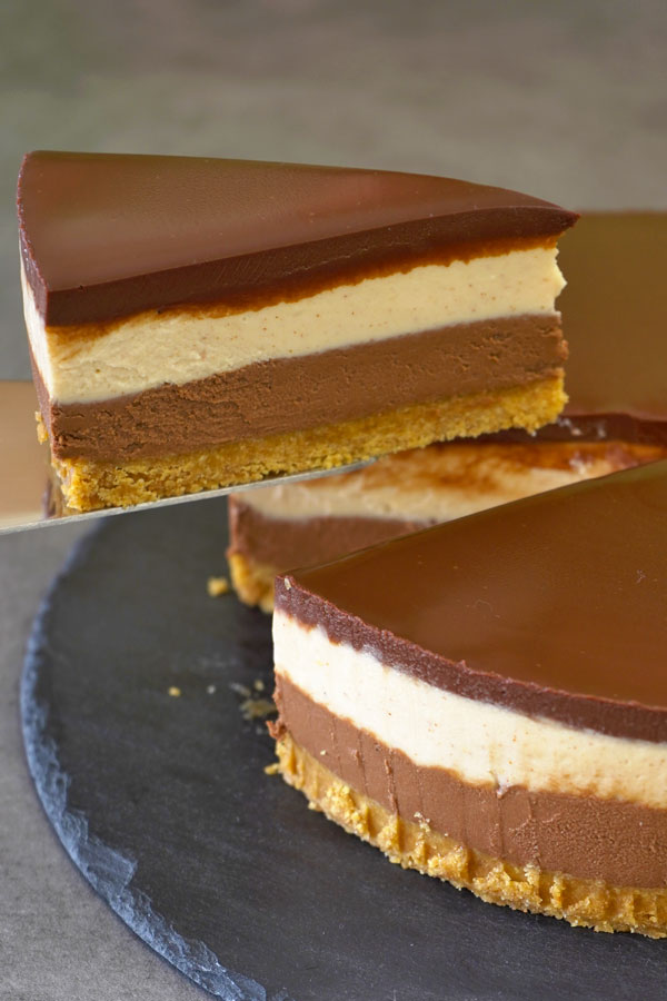 No bake peanut butter chocolate cheesecake
