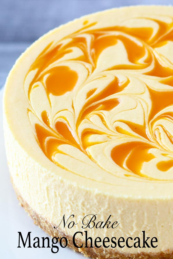 Easy no bake mango cheesecake recipe with smooth creamy texture and delicious mango cheese flavour enriched with white chocolate. What more could you ask for a summer dessert?