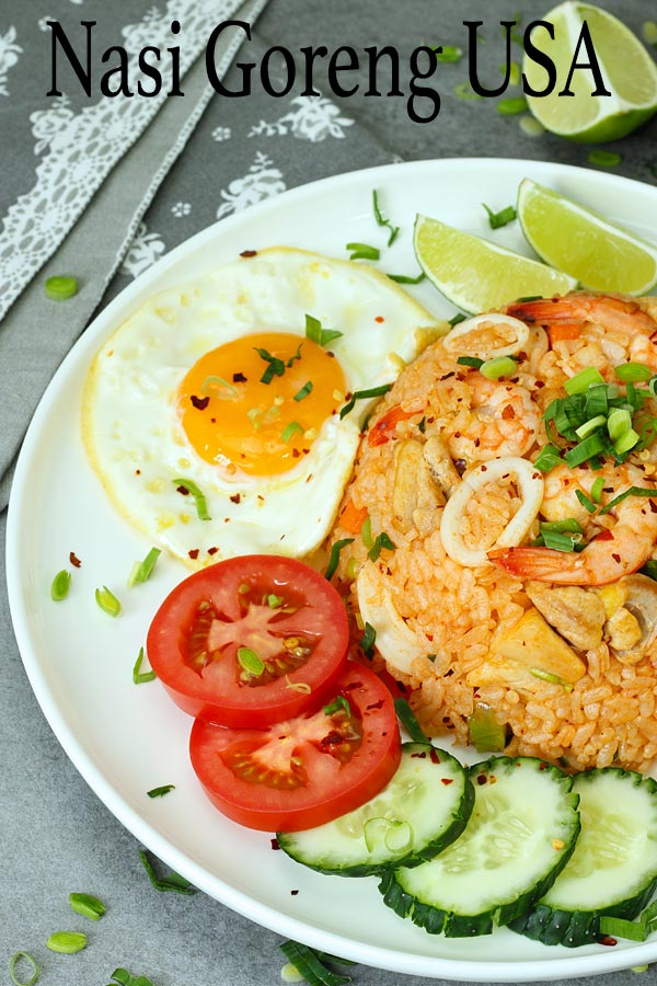 Malaysian style surf and turf fried rice or also known as Nasi goreng USA. This super easy, fast and mouth watering fried rice is one of the famous fried rice dishes in Malaysia. With only few easy ingredients you can easily prepare this yumminess at home.