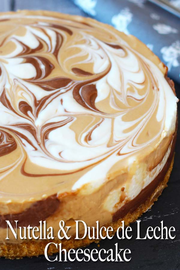 Decadent flavours of Nutella and dulce de leche, combined in a creamy no bake cheesecake! Is that too much? Absolutely not! You can never have too much of Nutella and dulce de leche. #cheesecake #nobakedessert #nutella #dulcedeleche #elmundoeats