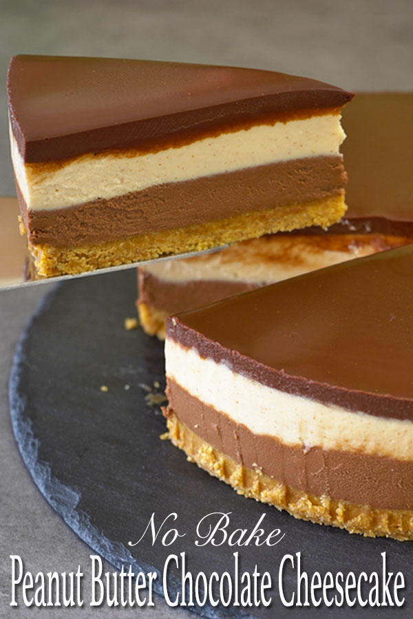 If you're a fan of Reese's peanut butter cup, then you should really try this peanut butter and chocolate no bake cheesecake. The combination of nutty peanut butter with decadent chocolate and that slight touch of saltiness is just wonderful.