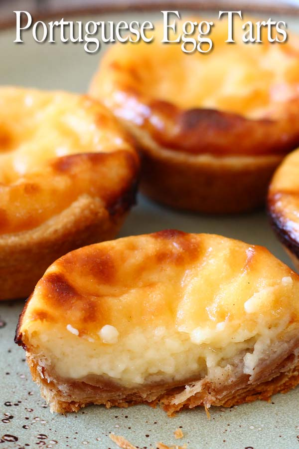 Creamy custard, slightly charred in thin crispy pastry with a touch of cinnamon to it, this is my version of the famous Portuguese egg tarts or Pasteis de Belem.