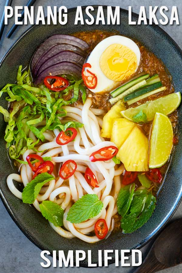 A simplified way to make this delicious Penang noodle soup. Asam Laksa is one of Malaysians famous dishes. This sweet and sour aromatic fish broth accompanied with fresh wonderful condiments on the side is a really must-try.