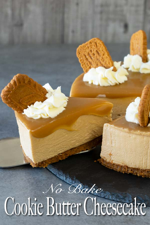 Creamy, luscious and decadent no-bake cookie butter cheesecake. Made from both the speculoos cookies and cookie butter. And better yet, this no bake cheesecake doesn't require any gelatin in it.
