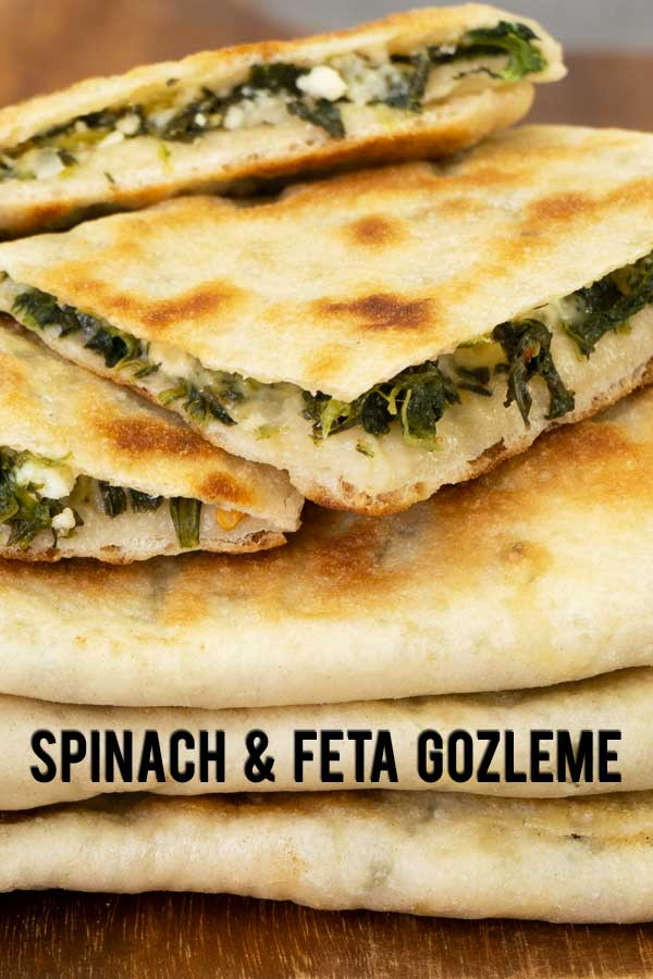 Gozleme is popular a Turkish flatbread with fillings. This is an easy recipe to make it at home from scratch with spinach and feta cheese filling.
