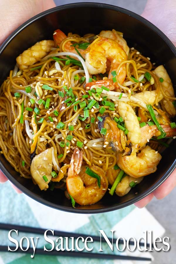 This soy sauce stir fry noodles is a fast and delicious option if you're craving for an Asian meal and don't want to spend lots of time making it.