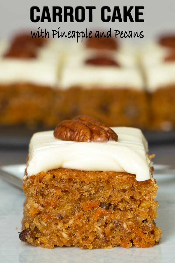 Easy moist and fluffy carrot cake with pineapple, pecans and cream cheese frosting. Infused with spices and glazed with less sugar cream cheese frosting. #cake #carrotcake #creamcheesefrosting #easyrecipe #elmundoeats