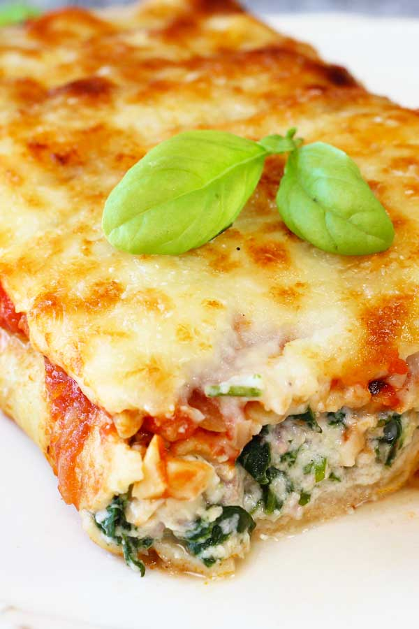 Ricotta and Spinach Crepe Cannelloni