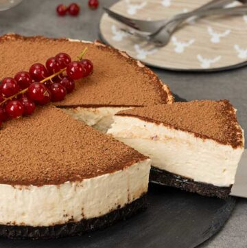 serving a portion of Irish cream cheesecake