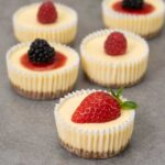 Mini cheesecakes on a table