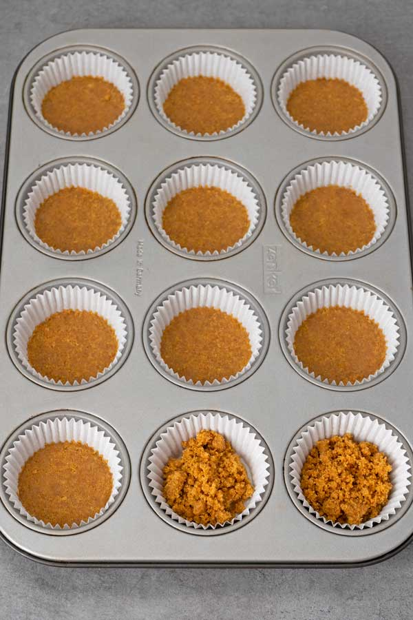 12 muffin tin with paper liners and the mini cheesecakes biscuit base