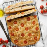 no-knead focaccia on a cooling rack