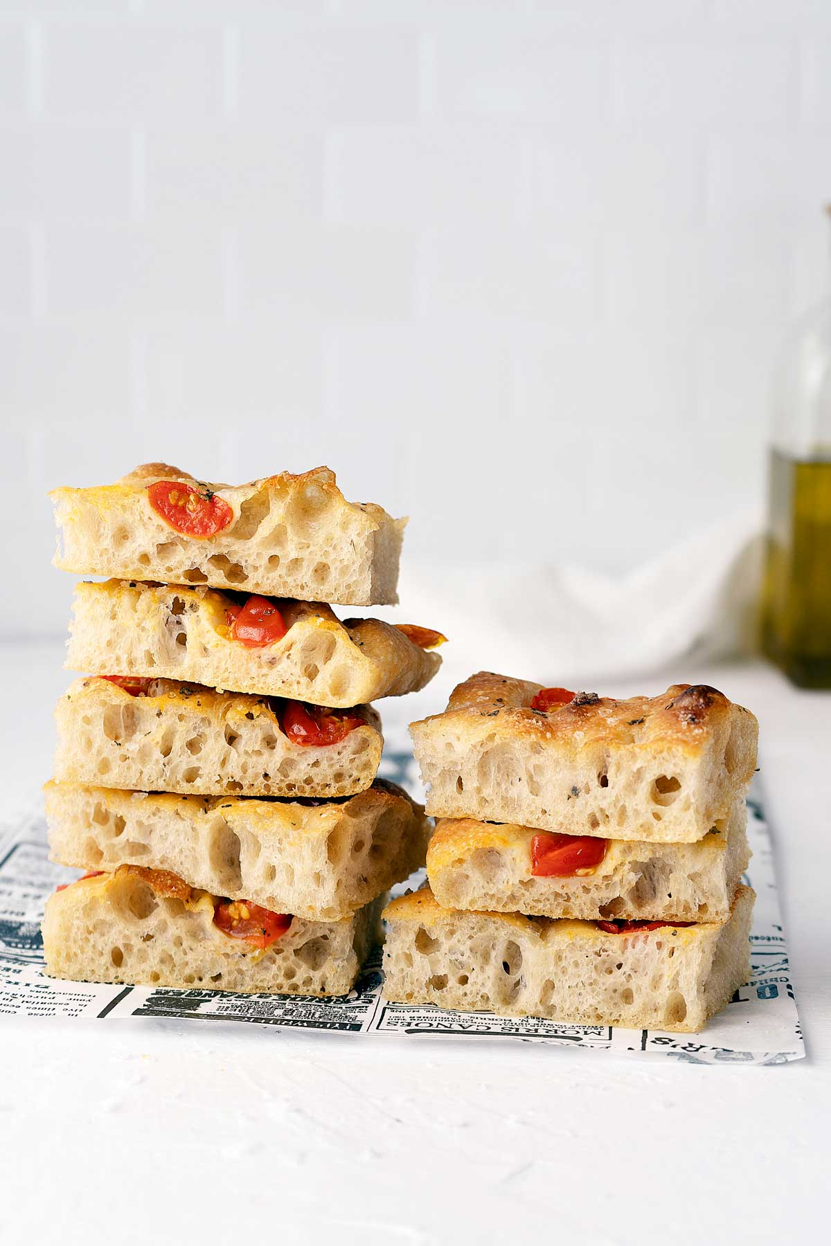stacked pieces of no-knead focaccia
