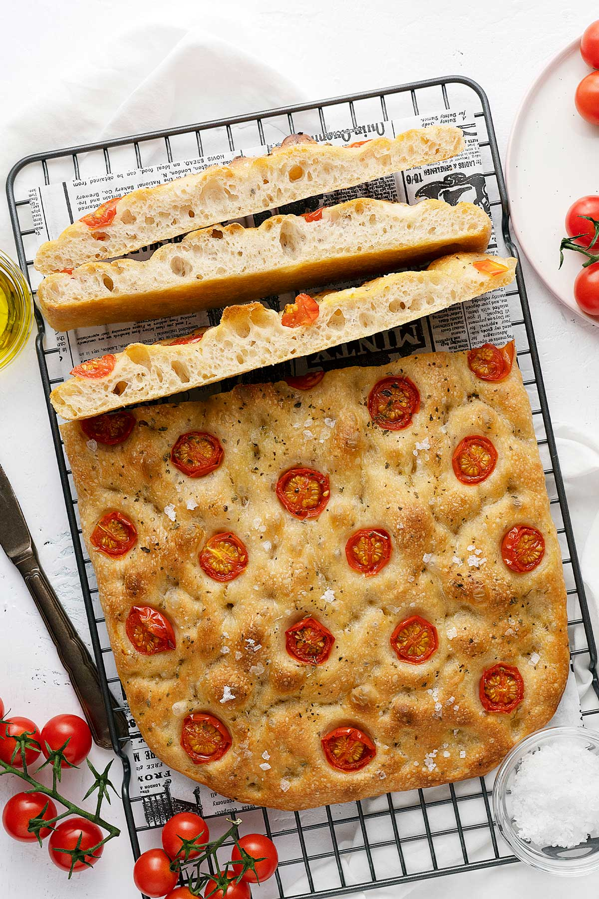 no-knead focaccia with cherry tomato