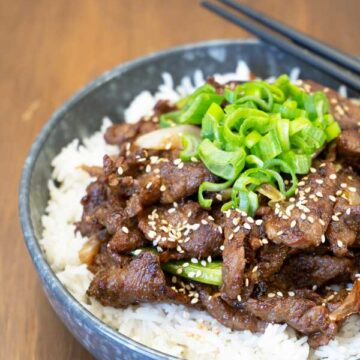 Korean BBQ Beef served on a bowl of rice