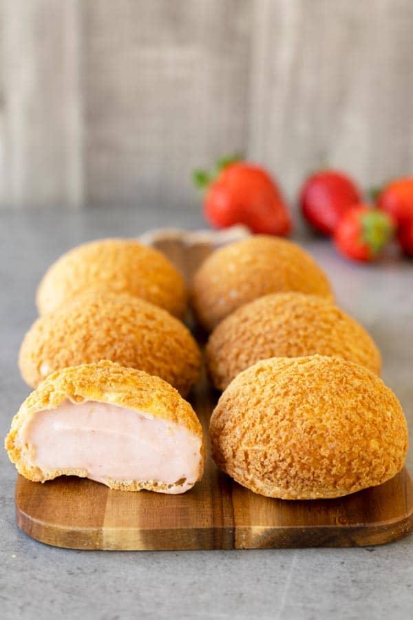 Strawberry cream puffs choux craquelin