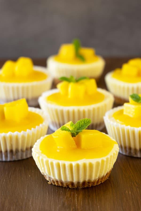 Mini Mango Lassi Cheesecakes on a table