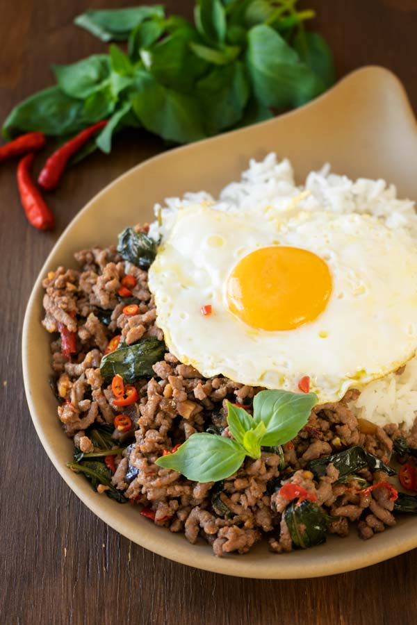 Basil stir fry with rice and fried egg