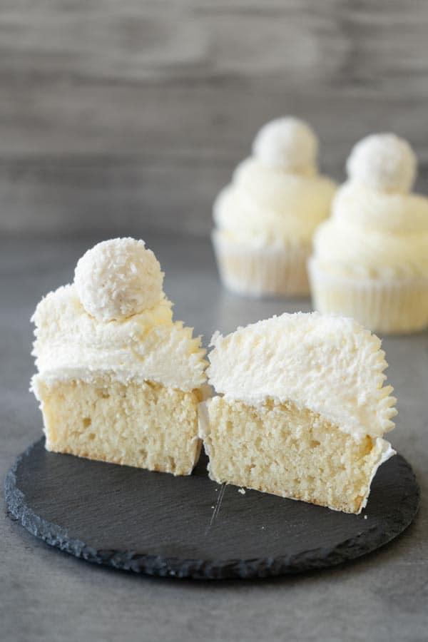 white cupcake cut in half