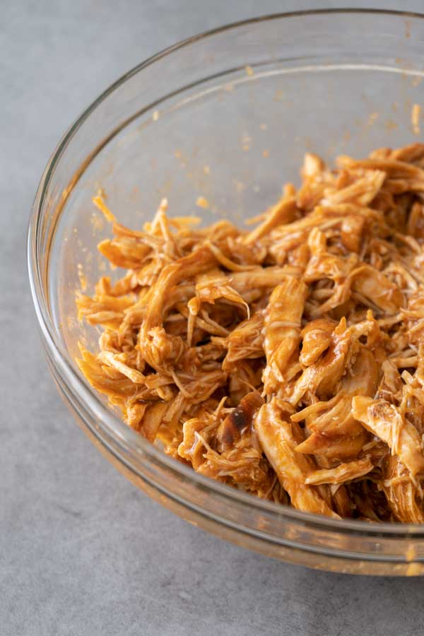 pulled chicken in a bowl