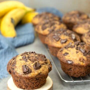 Banana Peanut Butter Chocolate Muffins