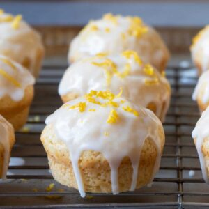 lemon muffins on a cooling rack