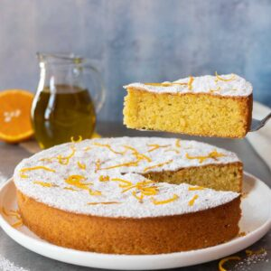 Serving olive oil orange cake