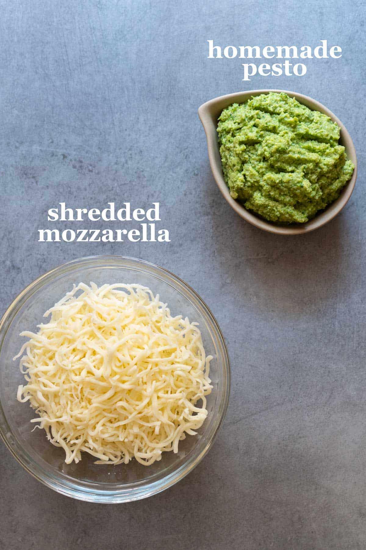 A bowl with pesto and a bowl of mozzarella