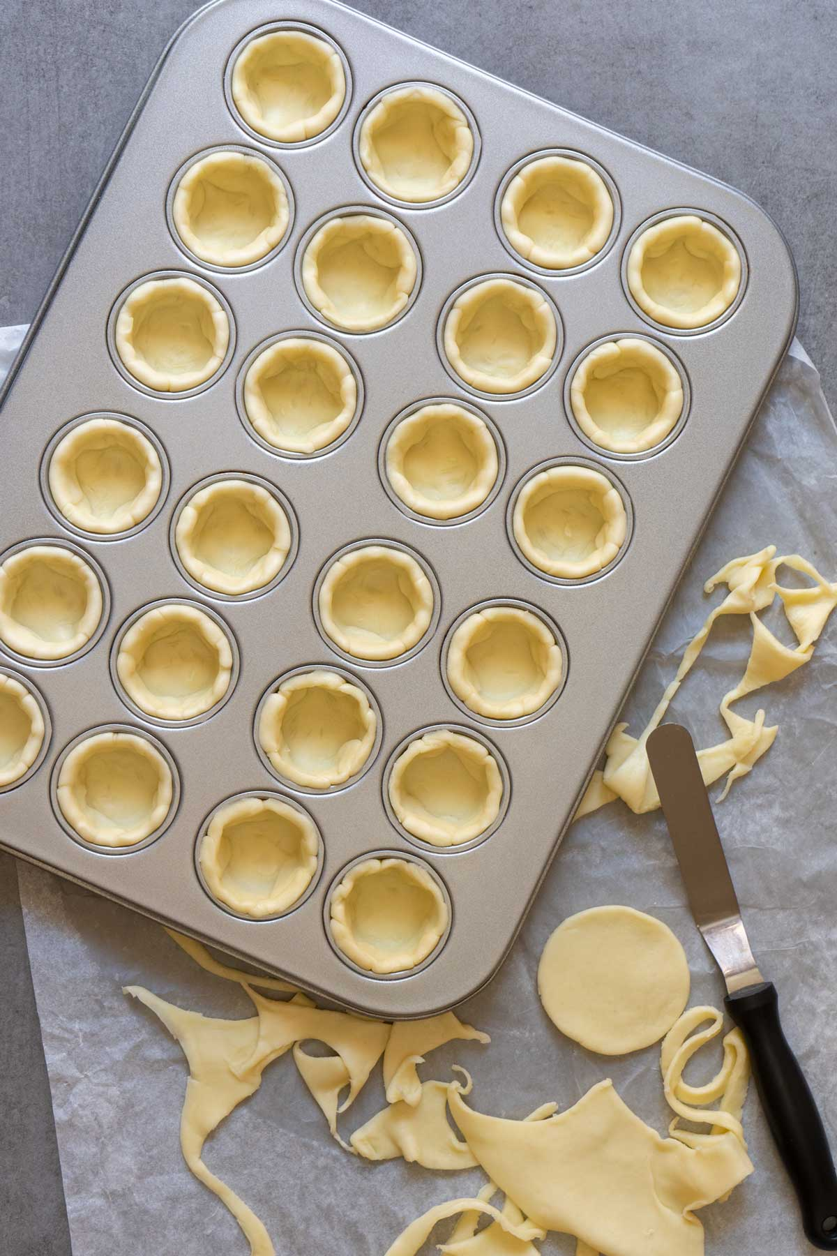 Raw shortcrust pastry in mini muffin pan