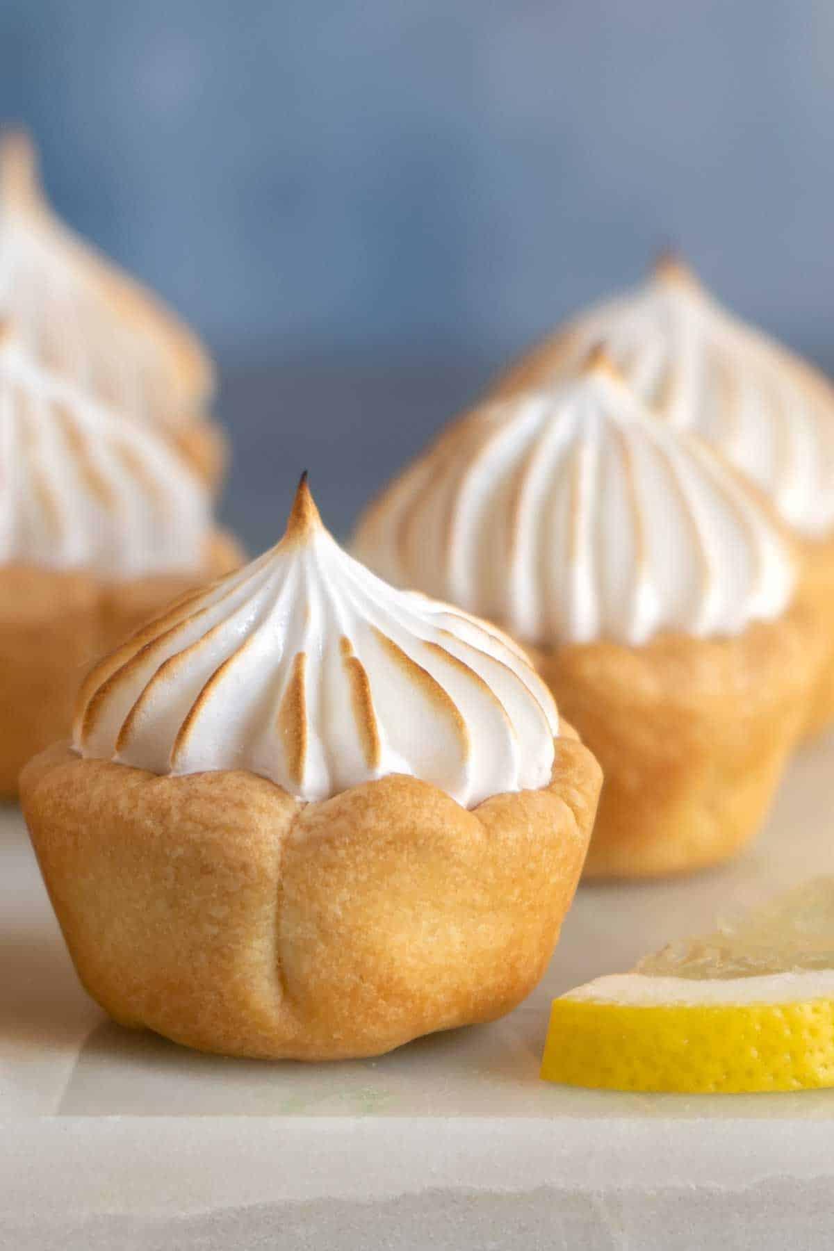 close up of lemon meringue pie bites