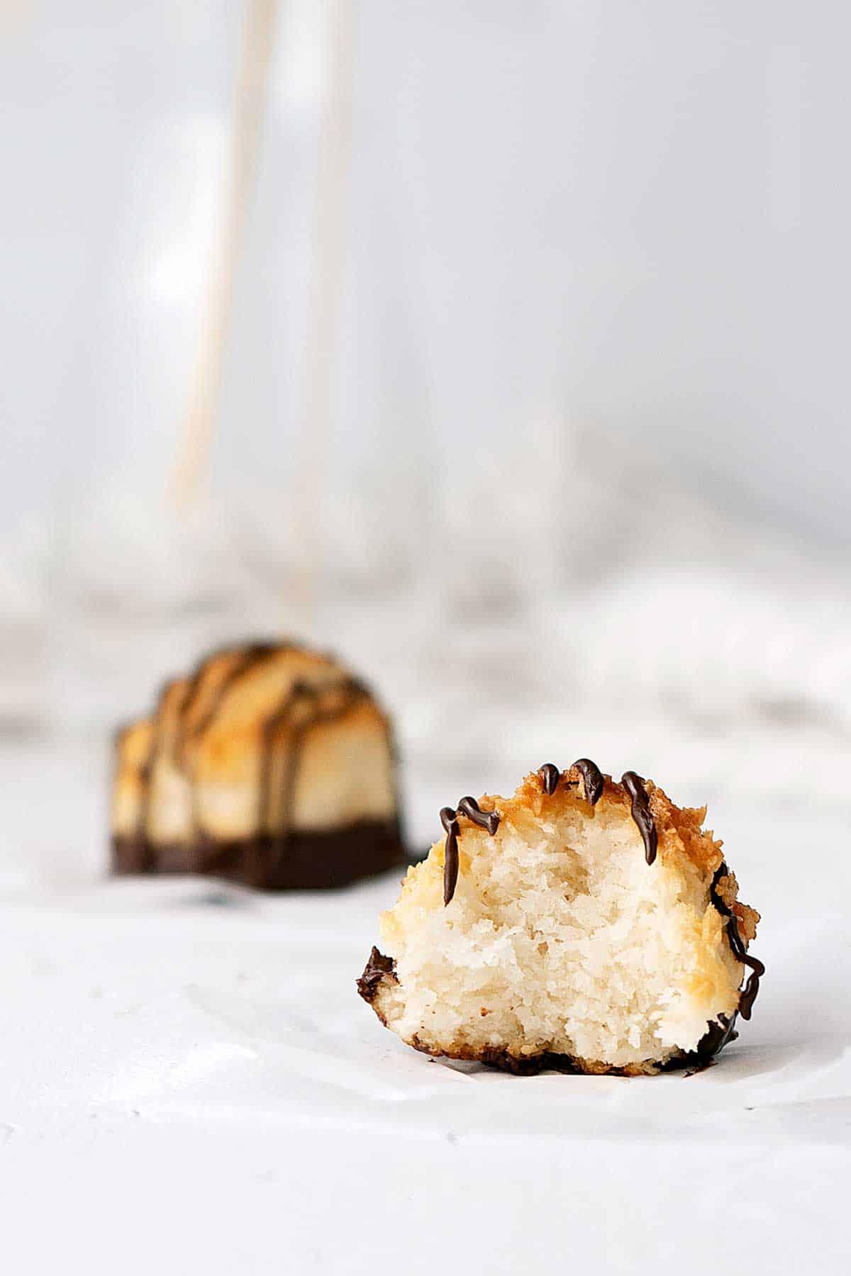 half eaten coconut macaroon